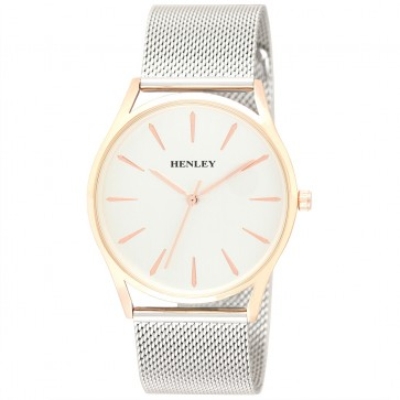 Henley Mens Two-Tone Mesh Bracelet Watch