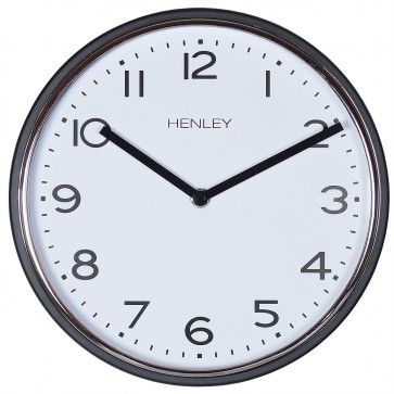 Modern Metal Trim Wall Clock - Black / Chrome