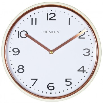 Modern Metal Trim Wall Clock - Cream / Rose Gold