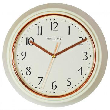 Modern Metal Porthole Wall Clock - Cream / Rose Gold