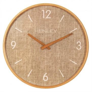 Wooden Textured Weave Wall Clock - Textured Tan