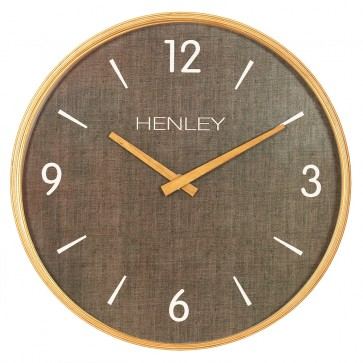 Wooden Textured Weave Wall Clock - Textured Brown
