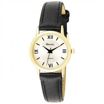 Women's Traditional Roman Numeral Strap Watch - Black / Gold