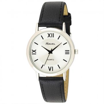 Men's Traditional Roman Numeral Strap Watch - Black / Silver