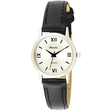 Women's Traditional Roman Numeral Strap Watch - Black / Silver