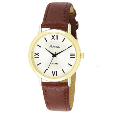 Men's Traditional Roman Numeral Strap Watch - Tan / Gold