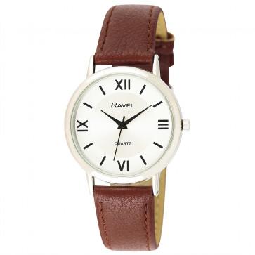 Men's Traditional Roman Numeral Strap Watch - Tan / Silver