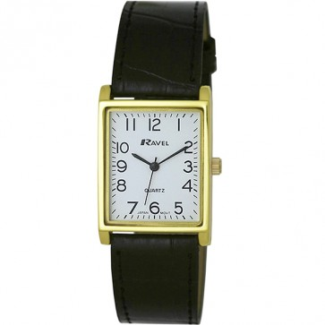 Men's Classic Rectangular Strap Watch