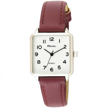 Women's Classic Rectangular Strap Watch - Burgundy