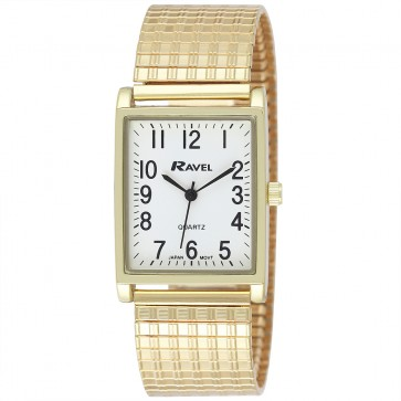Men's Classic Rectangular Expander Bracelet Watch