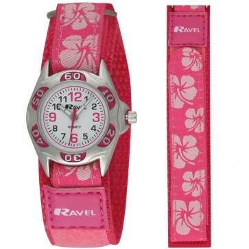 Ravel Girls Velcro Hibiscus Watch