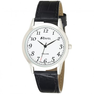 Deluxe Men's Classic Arabic Dial Leather Strap Watch
