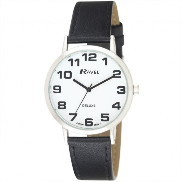 Deluxe Men's Bold Easy Read Leather Strap Watch