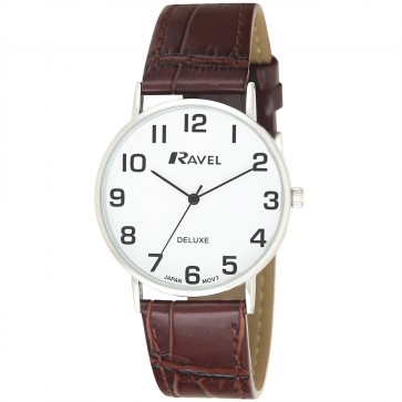 Deluxe Men's Classic Croco Leather Strap Watch