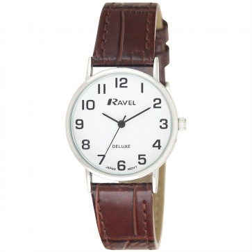 Deluxe Women's Classic Croco Leather Strap Watch