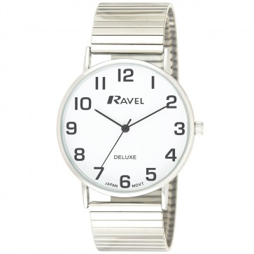 Deluxe Men's Classic Easy Read Expander Bracelet Watch