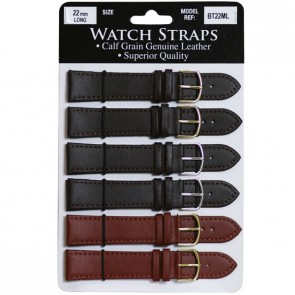 Timesource Genuine Calf Grain Leather Brown / Tan Watch Straps - Long