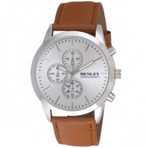 Henley Mens Genuine Leather Chronograph Watch