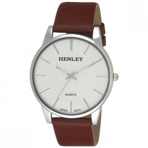 Henley Mens Genuine Leather Slim Curved Lens Fashion Watch