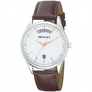 Henley Mens Genuine Leather Day-Date Fashion Watch