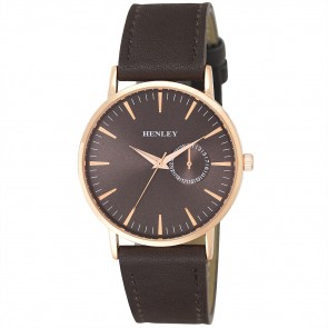 Henley Mens Faux Leather Minimal Fashion Watch