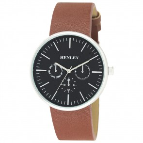 Henley Mens Faux Leather Front Loader Fashion Watch