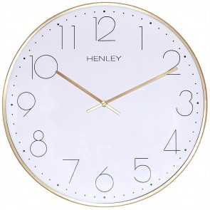 HENLEY 30cm Contemporary Metal Wall Clock - Brass