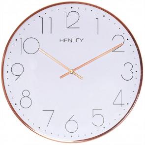 HENLEY 30cm Contemporary Metal Wall Clock - Copper