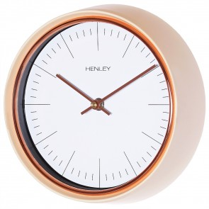 Minimal Porthole Wall Clock - Cream / Rose Gold Trim