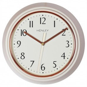 Modern Metal Porthole Wall Clock - Taupe / Rose Gold