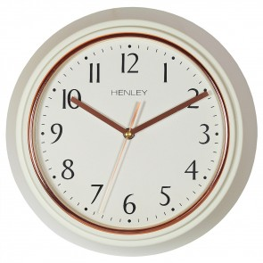 Modern Metal Porthole Wall Clock - Cream / Rose Gold