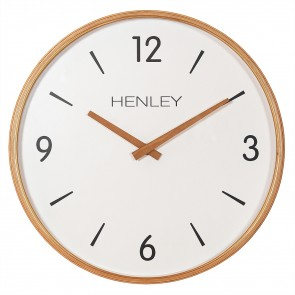 Wooden Textured Weave Wall Clock - White