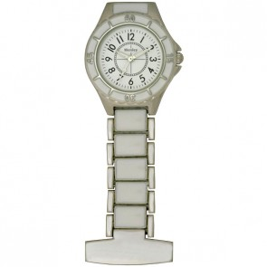 Henley Ladies Fashion White Enamel Link Fob Watch