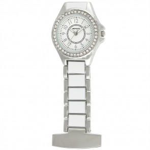 Women's White Enamel Link Diamante Crystal Set Fob Watch