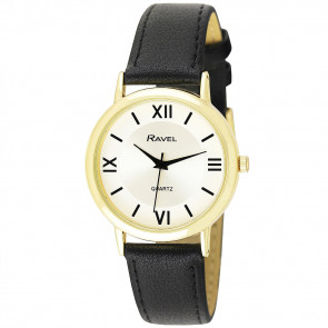 Men's Traditional Roman Numeral Strap Watch - Black / Gold