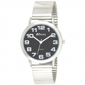 Men's Classic Bold Easy Read Expander Bracelet Watch