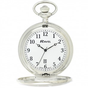 Ravel Polished Day-Date Pocket Watch Silver