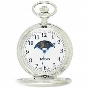 Ravel Polished Sun / Moon Pocket Watch
