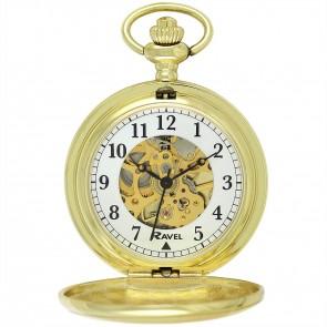 Ravel Polished Mechanical Pocket Watch