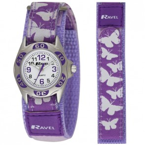 Ravel Girls Velcro Butterfly Watch
