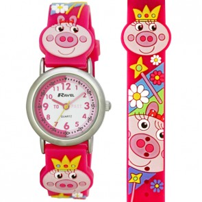 Girl's Cartoon Time Teacher Watch - Piggy