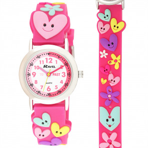 Kid's Cartoon Time-Teacher Watch - Hearts and Flowers