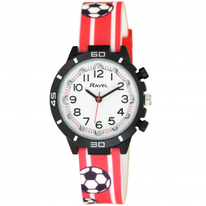 Kid's Silicone Watch - Red & White Football