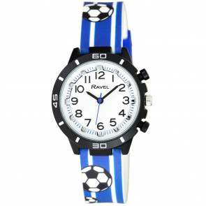Kid's Silicone Watch - Blue & White Football