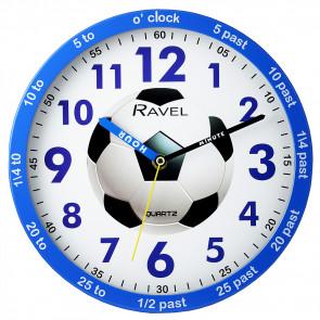 Kids 25cm Time-Teacher Wall Clock - Blue Football