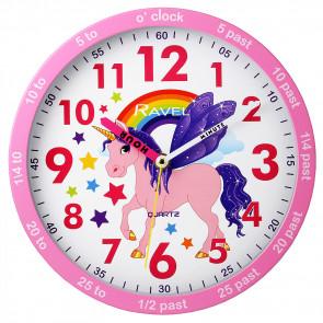Kids 25cm Time-Teacher Wall Clock - Unicorn