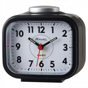 Rectangular Beep & Bell Alarm Clock. Black/Silver
