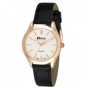 Ravel Deluxe Ladies Classic Leather Strap Watch