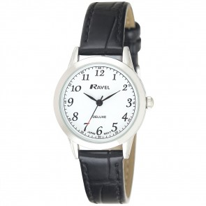 Deluxe Women's Classic Arabic Dial Leather Strap Watch