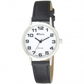 Deluxe Women's Bold Easy Read Leather Strap Watch